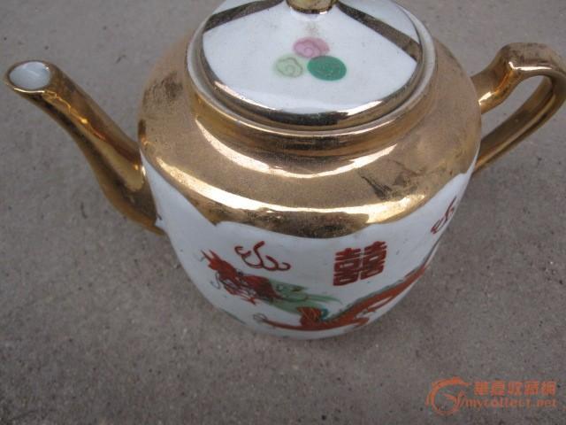 景德镇70年代老瓷厂产描金茶具