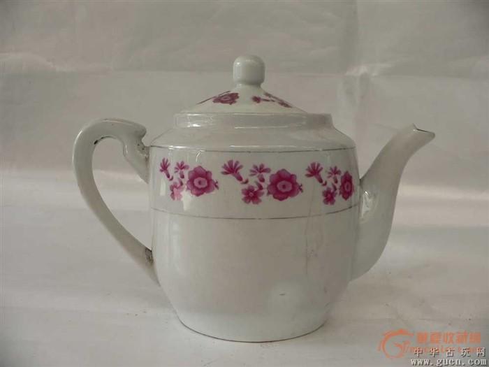 红花手绘茶壶