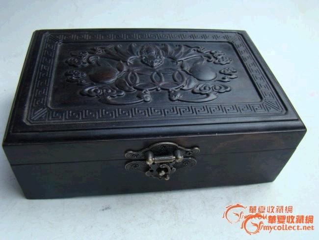 精致的老黑檀木(福在眼前)首饰盒