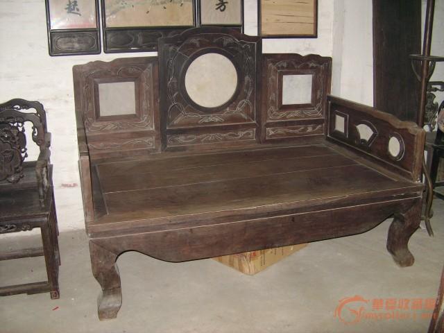 清代红木(酸枝)牡丹花纹单靠椅一对