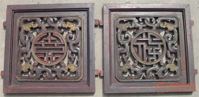 柏木雕魑龙捧福.寿字的花板花窗一对