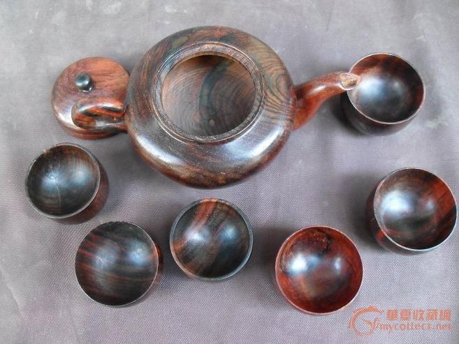老红木茶壶一套【八个杯子】