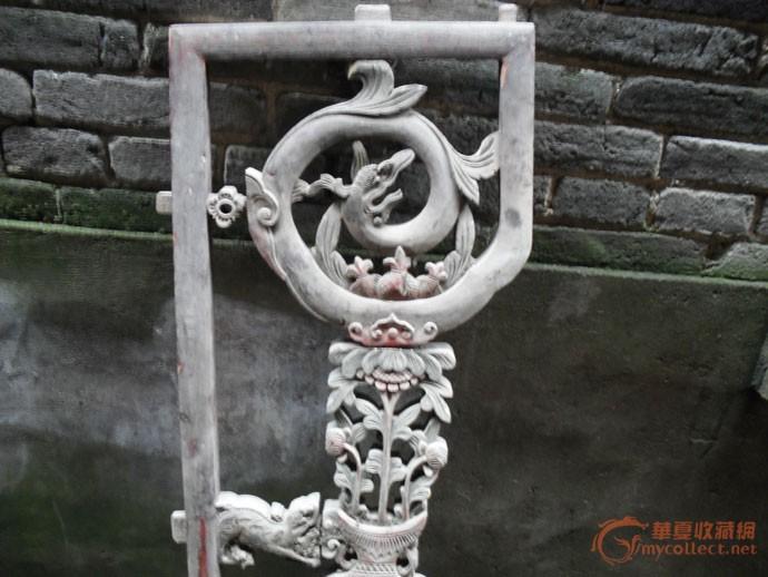 清代人物双狮草花龙长板花板一条图片