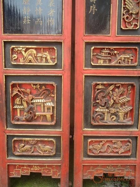 清朝木雕进士寿屏