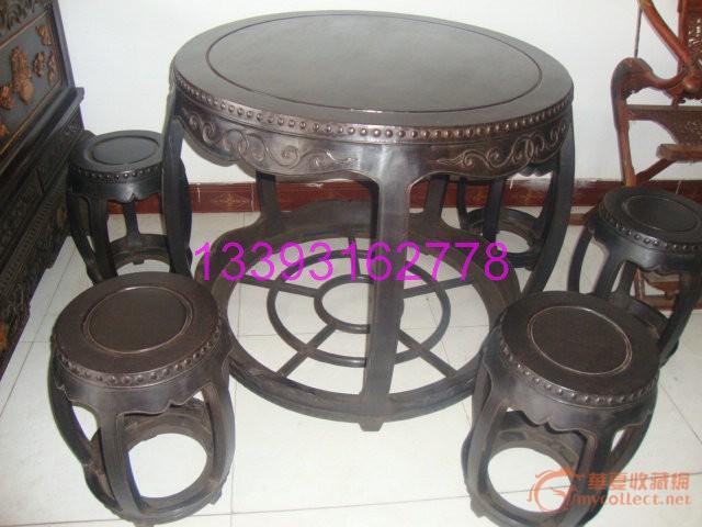 非常重的黑檀木圆桌一套!