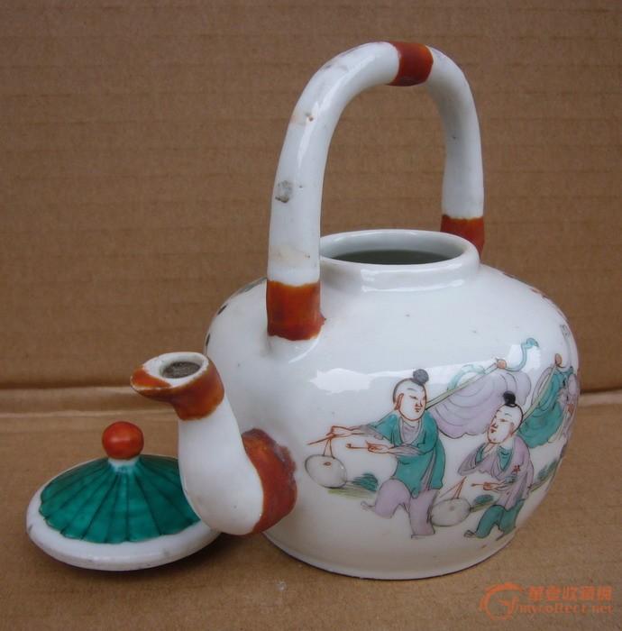 同治 粉彩人物故事纹提梁茶壶