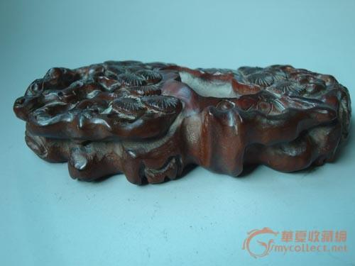 黄杨木雕松树纹笔洗