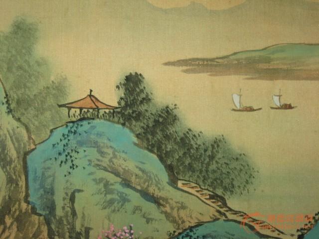 民国画家第从绢本手绘《东风山水图》