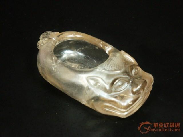 清 天然茶水晶雕貔貅水洗