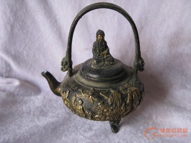 青铜鎏金 提梁 老铜壶 八仙过海 各显神通 品相佳 珍藏品