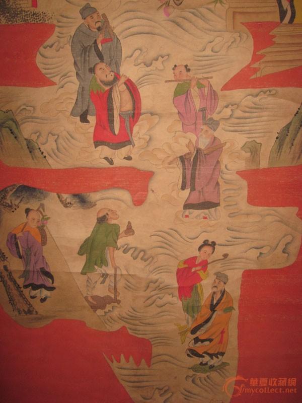 收来的八仙过海庆寿挂画