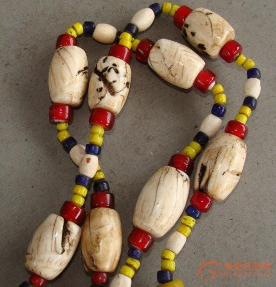 极品 老的 西藏 项链 贝壳 海螺 琉璃珠 料珠