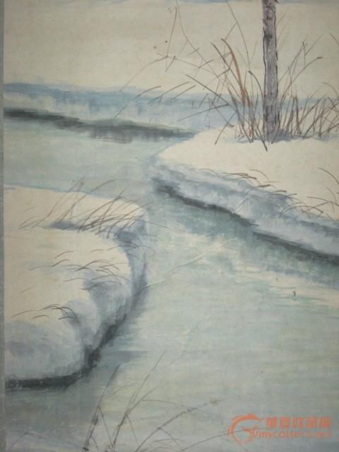 昭和时期日本画家正半手绘《冬日风景图》挂轴