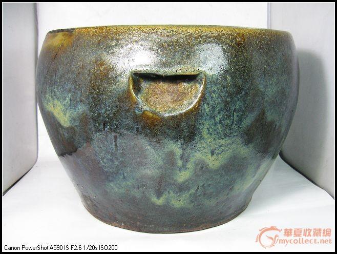 清代紫金釉紫砂画缸