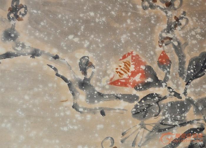 清代日本手绘淡彩花卉画《雪中花図》挂轴