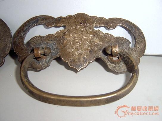 一对明式家具如意造型石榴蝙蝠纹铜配饰铜拉手图片