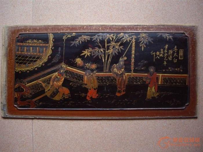七张清中早期的人物风景漆板画