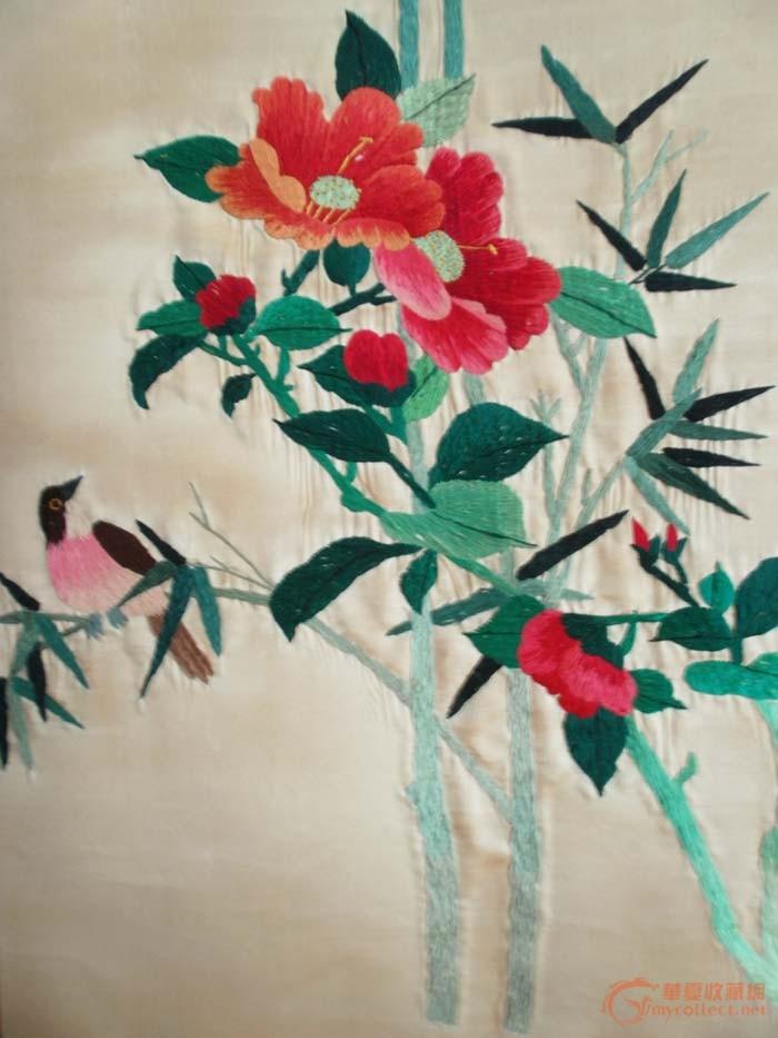 人工花鸟刺绣图