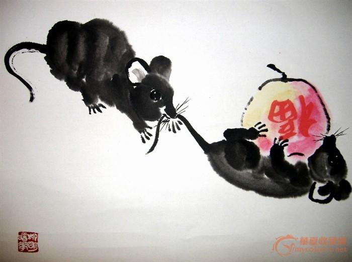 国画大师 ·汤文选·《双鼠图》