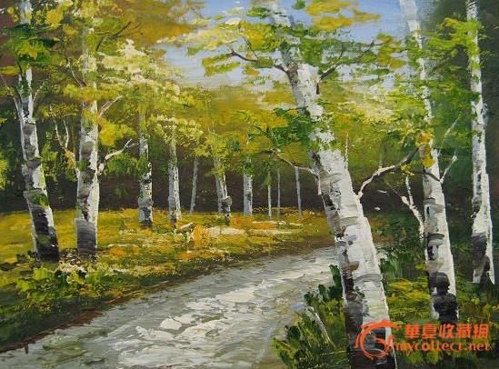 4133油画-白杨树风景