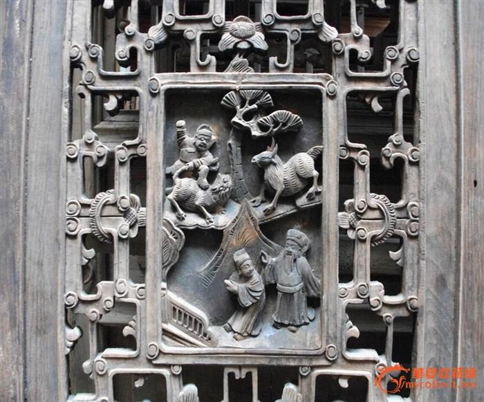 老木雕龙凤呈祥满工人物故事对开窗