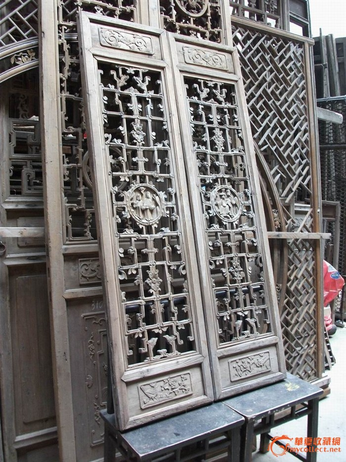 老木雕精工人物故事对开窗