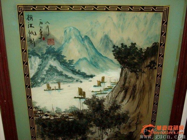 漂亮的文革手绘老风景画(玻璃画)