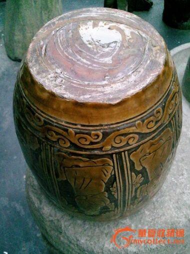 八仙过海黄釉缸
