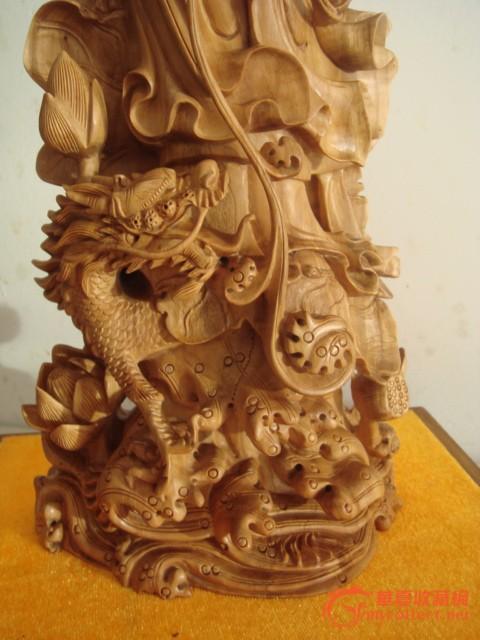 檀香木龙凤观音雕像