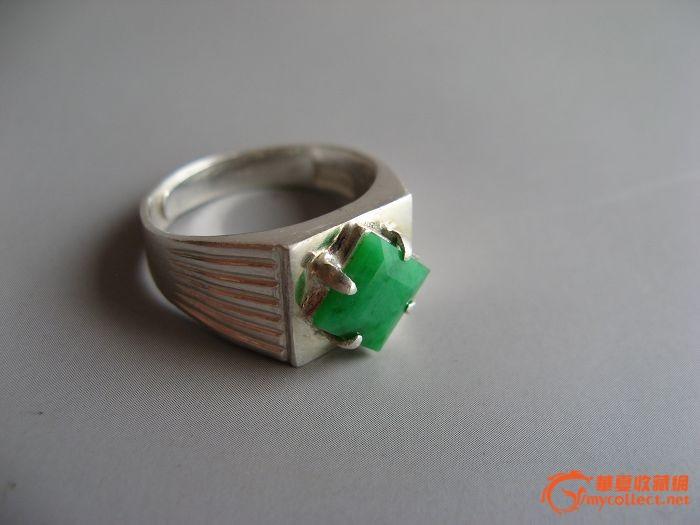 11510阳绿0.78厘米正方形男戒 纯银镶