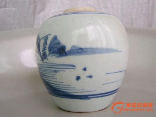 清乾隆青花山水茶叶罐
