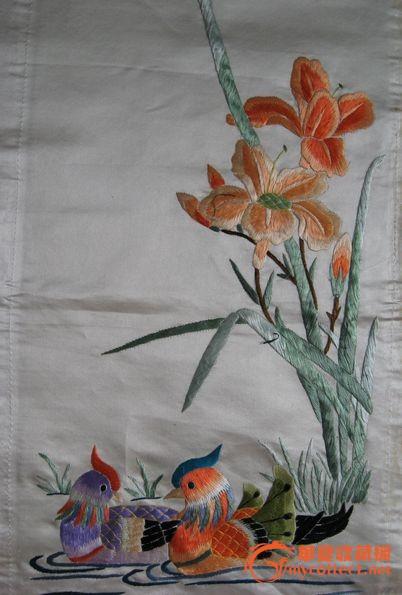 鸳鸯戏水刺绣