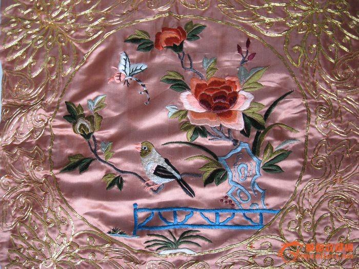 喜鹊牡丹刺绣