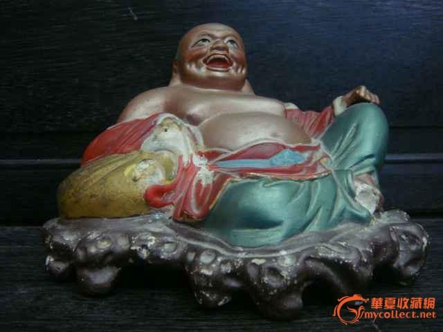 形象可爱的民国白陶脱胎彩绘漆布袋弥勒笑佛
