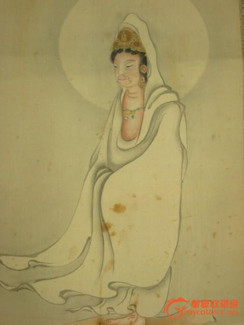 民国日本知名画家默川逸人手绘人物画原作《男像观音