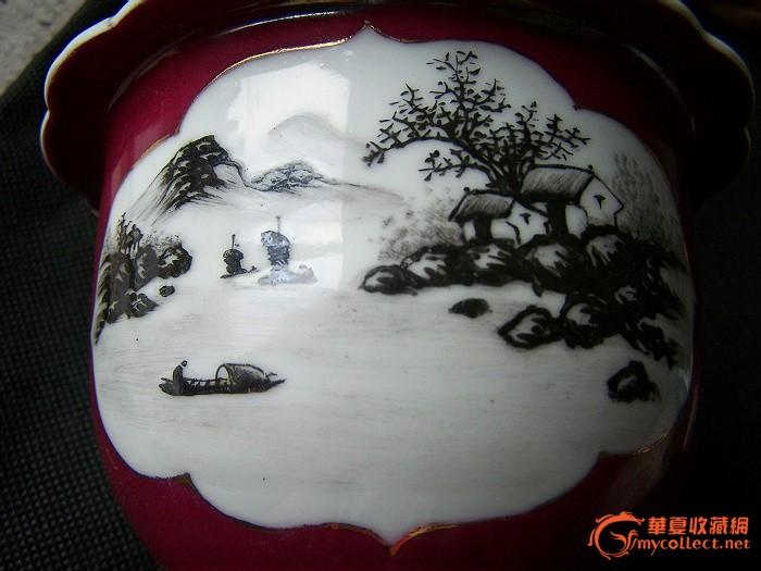红釉开光墨彩山水花盆.
