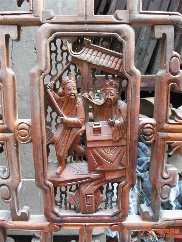 老木雕精工三个盘人物典故屏风八扇盘子细图