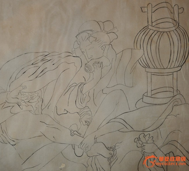 明治时期日本手绘老绢本白描浮世绘《春宫图》手卷