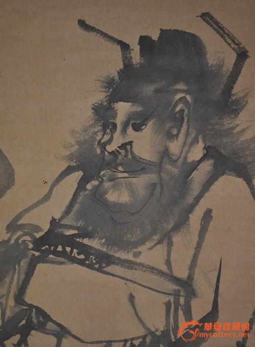 清代日本画家月撨手绘水墨人物画《钟馗図》原作挂轴