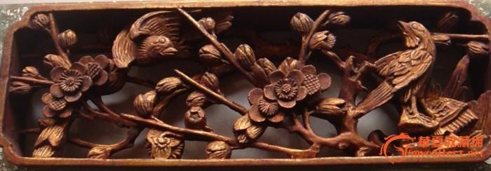 清——花鸟金水木雕
