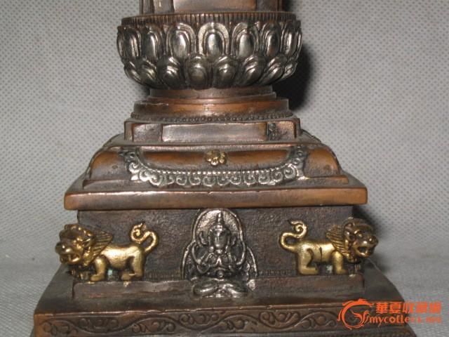 老铜鎏金鎏银西方三圣舍利佛塔