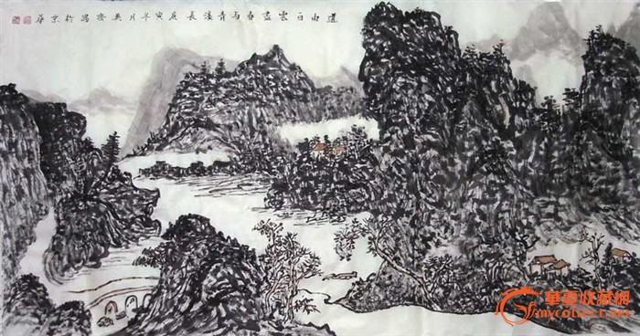 国画山水 黑白经典图片