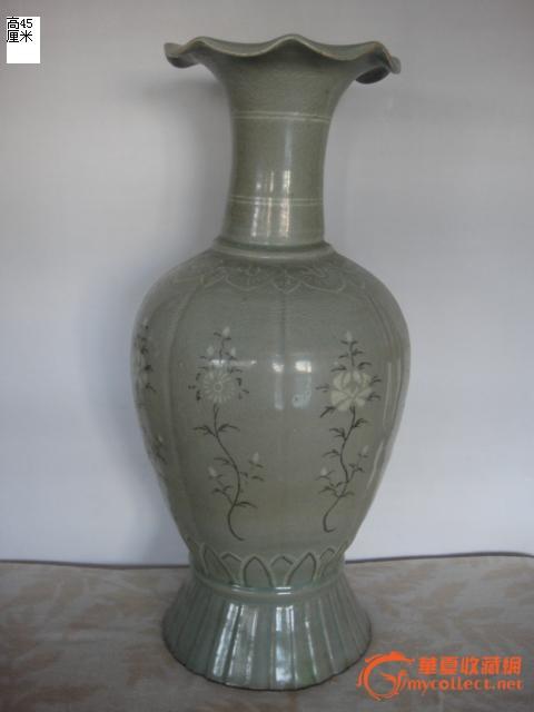 青磁 黑白镶嵌 花瓶_青磁 黑白镶嵌 花瓶价格_青磁