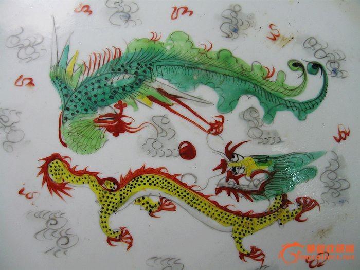 民国手绘龙凤茶盘