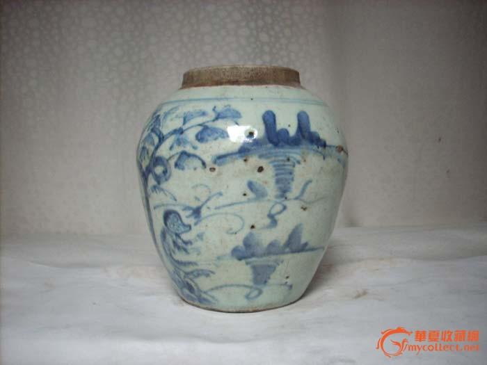 地摊 陶瓷 其它 青花动物纹罐