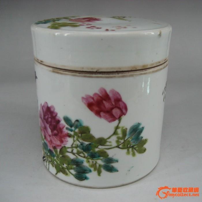民国粉彩花鸟茶叶罐