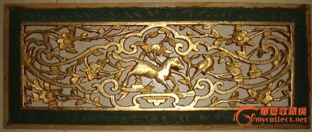 民国金漆木雕花鸟动物3片