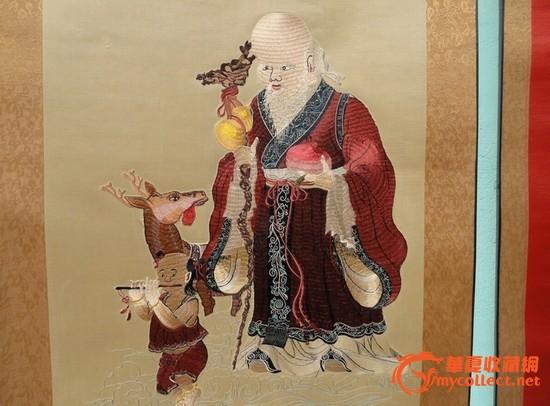 老寿星刺绣中堂画