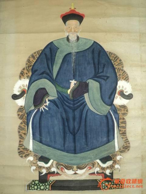 一对不错的矿物彩男女人物画像(清朝官员画像)