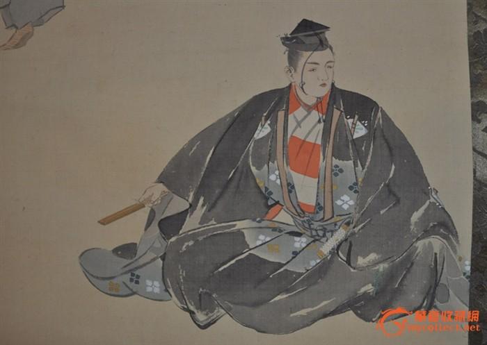 民国日本画家延重手绘淡彩人物画《能舞図》立轴